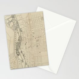 Vintage Map of Manchester NH (1872) Stationery Cards