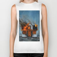 house Biker Tanks featuring House on Fire by FAMOUS WHEN DEAD