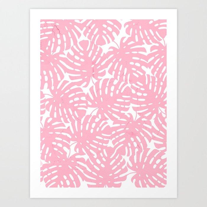 Pink Monstera Leaves Art Print by cafelab