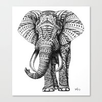 black Canvas Prints featuring Ornate Elephant by BIOWORKZ