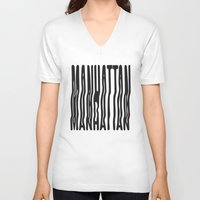 manhattan V-neck T-shirts featuring Manhattan by Hoods