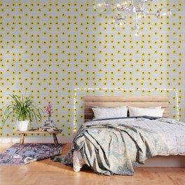 Yellow Daises on Minimal Black and White Stripes Wallpaper