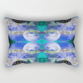 Brilliant Blue and Green Nautilus Fantasy Abstract Rectangular Pillow