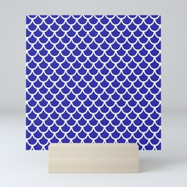 Scales (White & Navy Blue Pattern) Mini Art Print