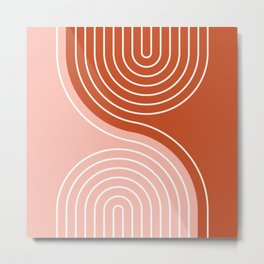 Geometric Lines in Terracotta Rose Gold 19 (Rainbow and Lines Abstraction) Metal Print
