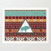 Navajo Buffalo Art Print