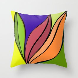 Colourful abstract plant artwork  Throw Pillow