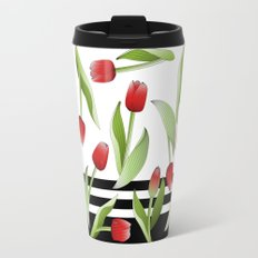 Modern Vintage Red Tulip Floral Patten Travel Mug