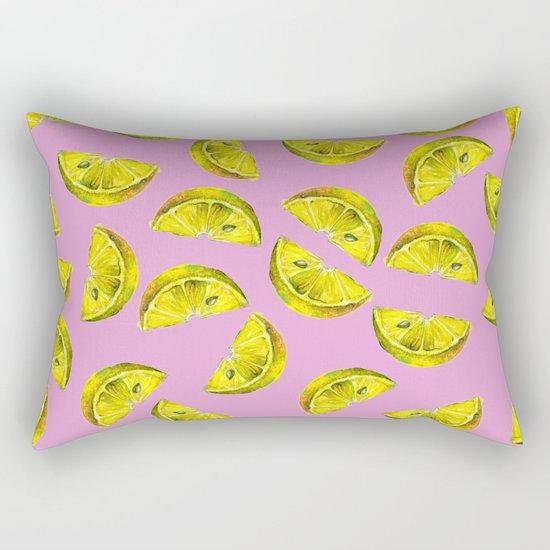 Lemon Slices Pattern Pink Rectangular Pillow