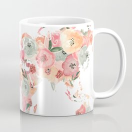 Floral Watercolor World Map - Pink, Coral, Aqua Flowers - Oh Darling Let's Be Adventurers Coffee Mug