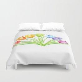Rainbow Tulips, Spring Flowers Duvet Cover