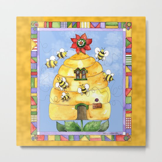 Busy Bees with Border Metal Print