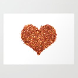 Spicy crushed chili pepper Valentine heart Art Print