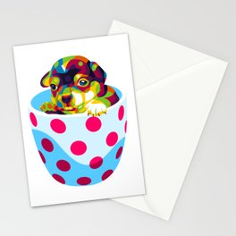 Little Dog In The Cup Pattern Stationery Cards