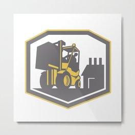 Forklift Truck Materials Handling Logistics Retro Metal Print