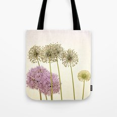 Tall Green Alum Plants and Purple Pink Star Flowers Tote Bag