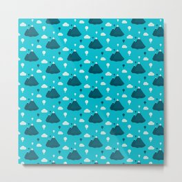 Travel pattern with mountains and baloons Metal Print