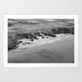 Black and white aerial view of Bedruthan Steps Beach Art Print