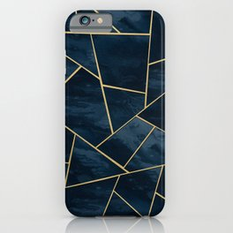 Dark Midnight Navy Blue Gold Geometric Glam #1 #geo #decor #art iPhone Case