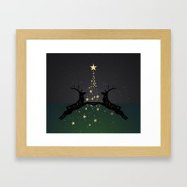 Champagne Gold Star Christmas Tree with Magical Reindeers - Emerald Green Framed Art Print