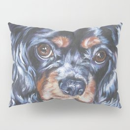 Beautiful black and tan Cavalier King Charles Spaniel Dog Painting by L.A.Shepard Pillow Sham