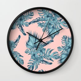 Dreaming of Hawaii Teal Blue on Millennial Pink Wall Clock