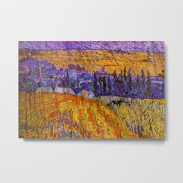 Purple Twilight at French Village of Auvers-sur-Oise, France in the Rain by Vincent van Gogh Metal Print