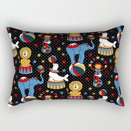 Little Circus Stars on Black Rectangular Pillow