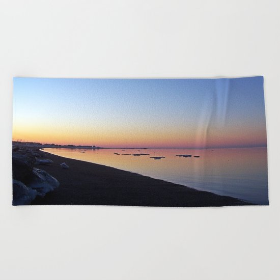 Winter Beach Sunset Beach Towel