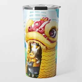 Lion Dancing Cats Travel Mug
