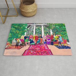 This is not a Party: Brightly colored painting of a group of people in a gigantic greenhouse with rugs and rainbow clothing Rug