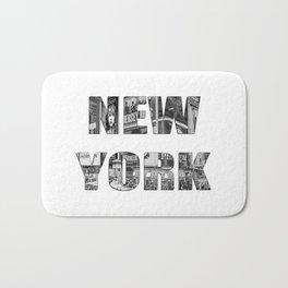 New York  B&W typography Bath Mat
