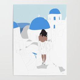Fashion Travel Girl Wandering the Steps of Santorini, Greece Poster