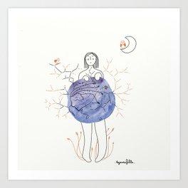 Moonlight dress// Robe couleur de lune  Art Print