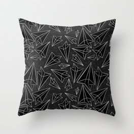 Paper Airplanes Black Throw Pillow