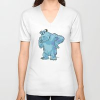 "monsters inc V-neck T-shirts featuring Monsters, Inc. | James P. ""Sulley"" Sullivan by Brave Tiger Designs"
