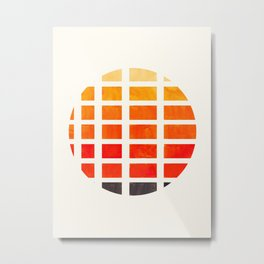 Watercolor Colorful Orange Minimalist Mid Century Modern Square Matrix Geometric Pattern Round Circl Metal Print