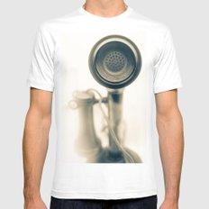 Can you hear me.....now? MEDIUM Mens Fitted Tee White