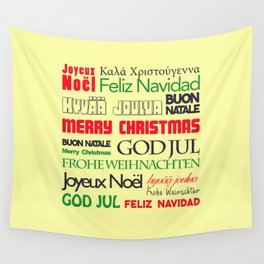 merry christmas in different languages I Wall Tapestry
