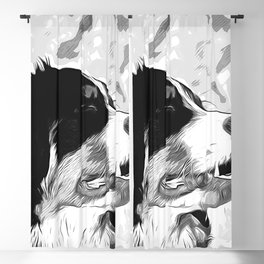 bernese mountain dog vector art black white Blackout Curtain