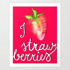 i heart strawberries Art Print