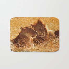 The Lion with his Lioness~ bathed in sunlight and love... Bath Mat