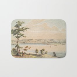 Vintage Pictorial Map of Baltimore in 1752 (1856) Bath Mat