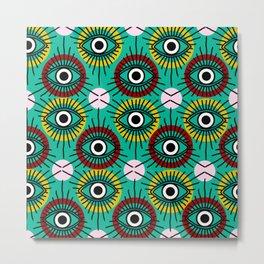 All Seeing Eye Pattern in Emerald Metal Print