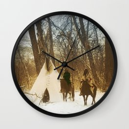 The winter camp - Crow (Apsaroke) Indians Wall Clock