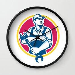 Mechanic Holding Spanner Rolling Sleeve Retro Wall Clock