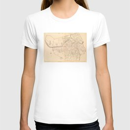 Vintage Map of Lowell MA (1904) T-shirt