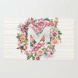 Initial Letter M Watercolor Flower Rug