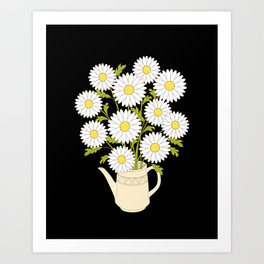 bouquet of camomiles in the vase on the black Art Print