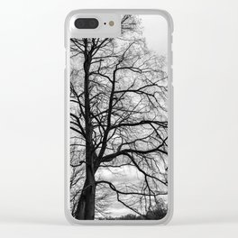 Black white tree Clear iPhone Case